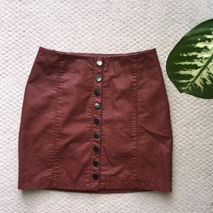 Free People Vegan Leather Button Front Mini Skirt